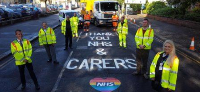 "Reading Council Road Markings Publicly Thank NHS And Carers For ""Exceptional Dedication"""